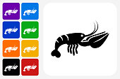 Lobster Icon Square Button Set. The icon is in black on a white square with rounded corners. The are eight alternative button options on the left in purple, blue, navy, green, orange, yellow, black and red colors. The icon is in white against these vibrant backgrounds. The illustration is flat and will work well both online and in print.