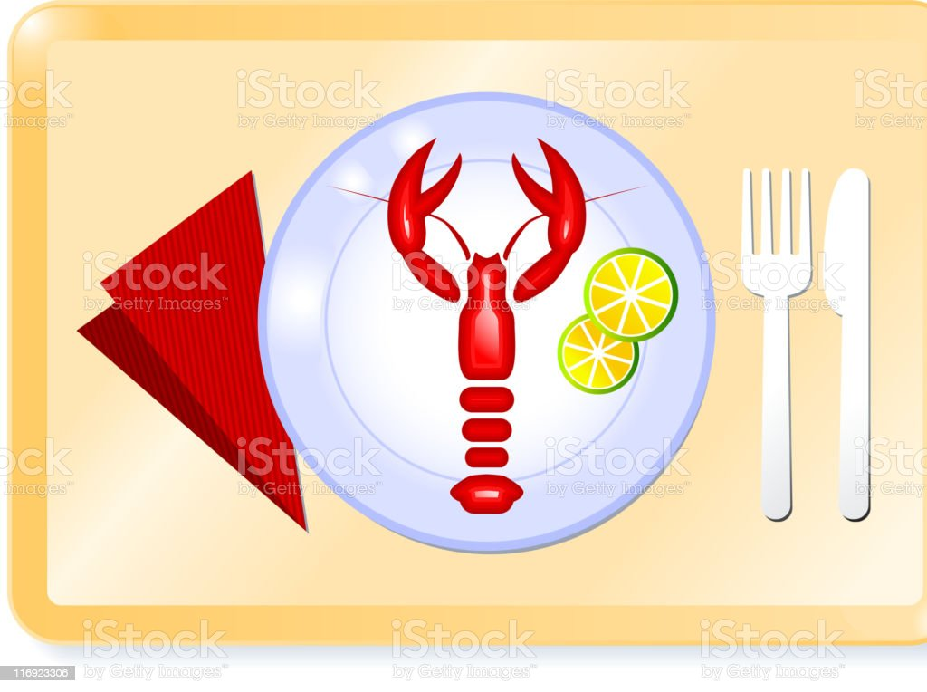 lobster plate on a tray royalty-free stock vector art