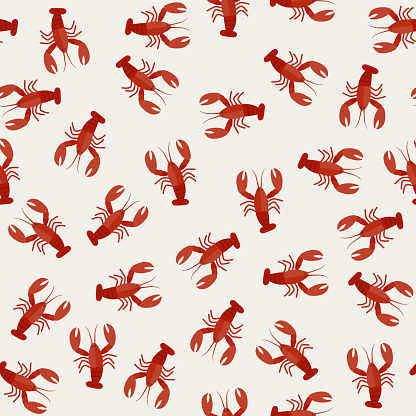 Lobster seamless pattern.