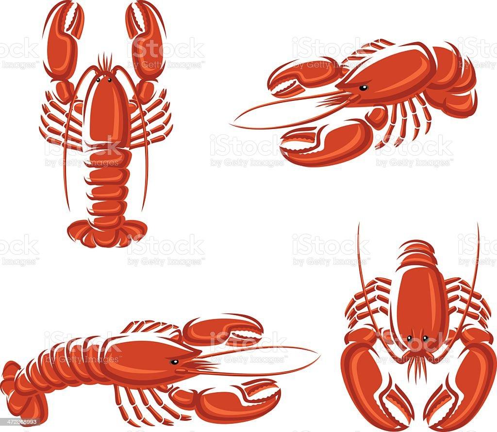 Lobster set. Vector royalty-free stock vector art