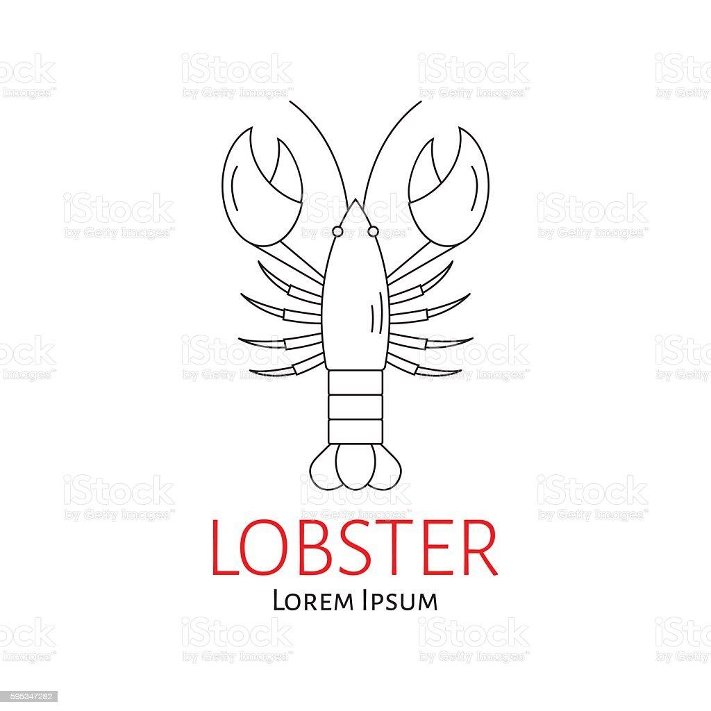 Lobster vector flat line illustration. vector art illustration
