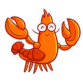 Funny and cute lobster waving it's hand and smiling - vector.