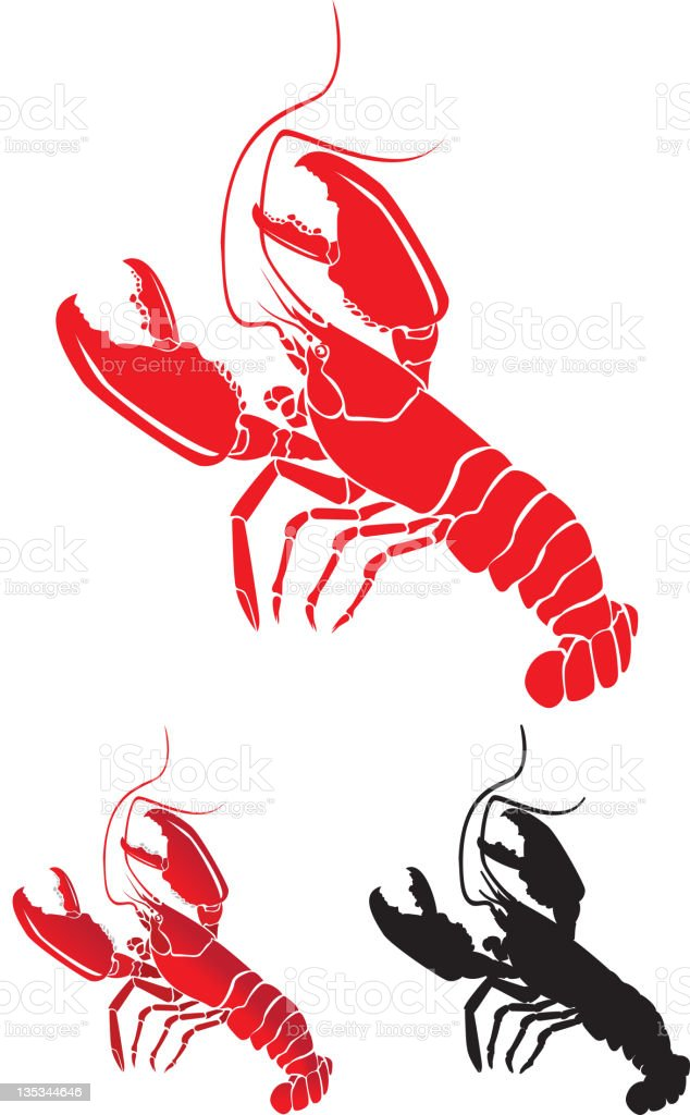 Lobsters with Large Claws, detailed and Silhouette royalty-free stock vector art