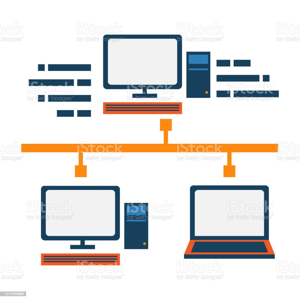 Local area network abstract icon. Server and client communication. Network  block diagram. royalty