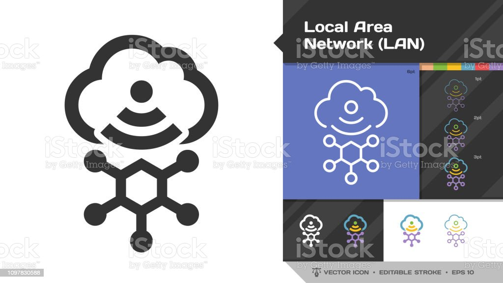 Local area network LAN icon black glyph silhouette and editable stroke thin outline single with cloud computing, wireless technology and connection symbol.
