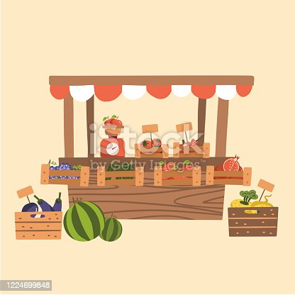 Local Autumn Products at Farmers Market. Organic Fruits, Vegetables at wooden market stall. Counter with scales. Flat vector illustration