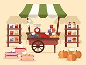 Local autumn products at Farmers Market. Organic fruits, vegetables, jams and juices. Flat design style.