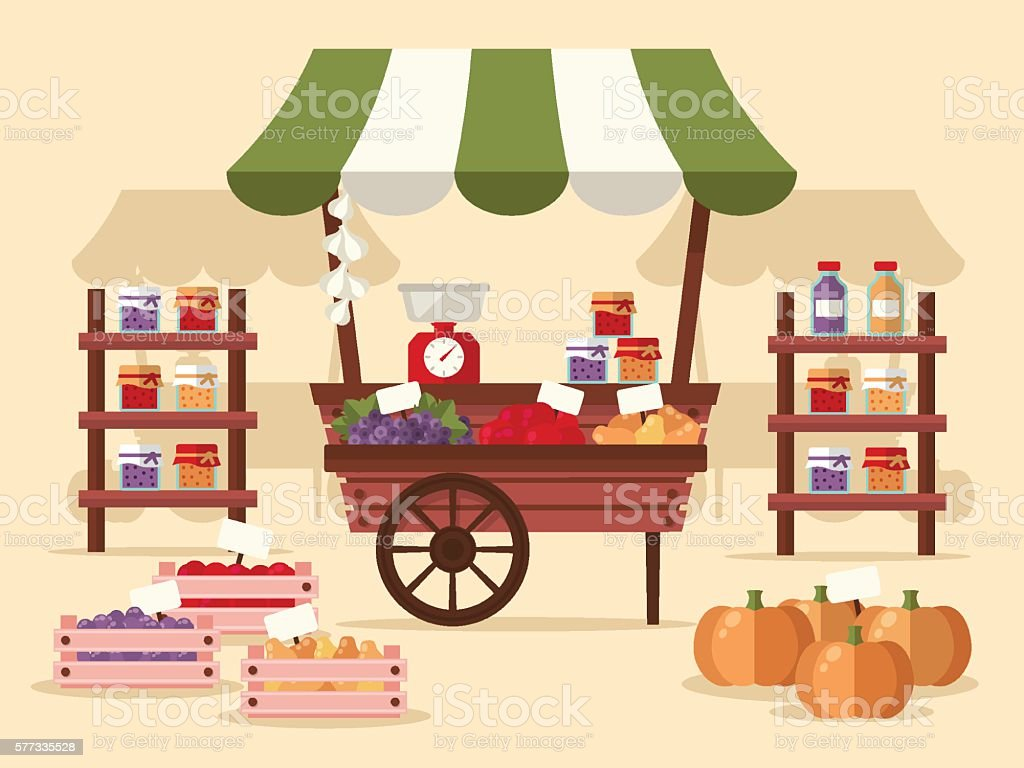 Local Autumn Products at Farmers Market vector art illustration