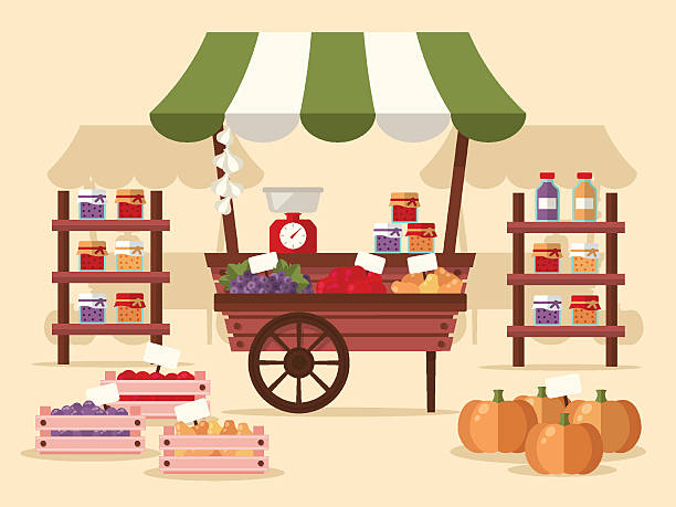 Local Autumn Products at Farmers Market Local autumn products at Farmers Market. Organic fruits, vegetables, jams and juices. Flat design style.  farmer's market stock illustrations