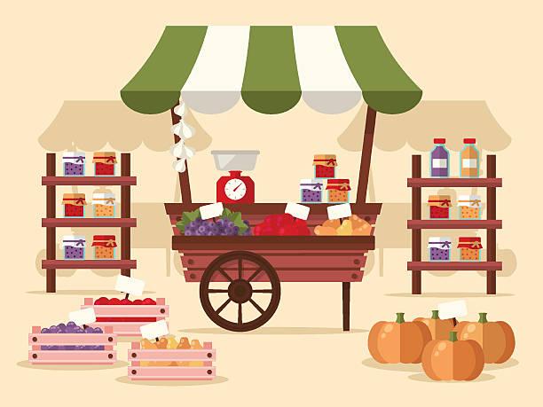 stockillustraties, clipart, cartoons en iconen met local autumn products at farmers market - marktkraam