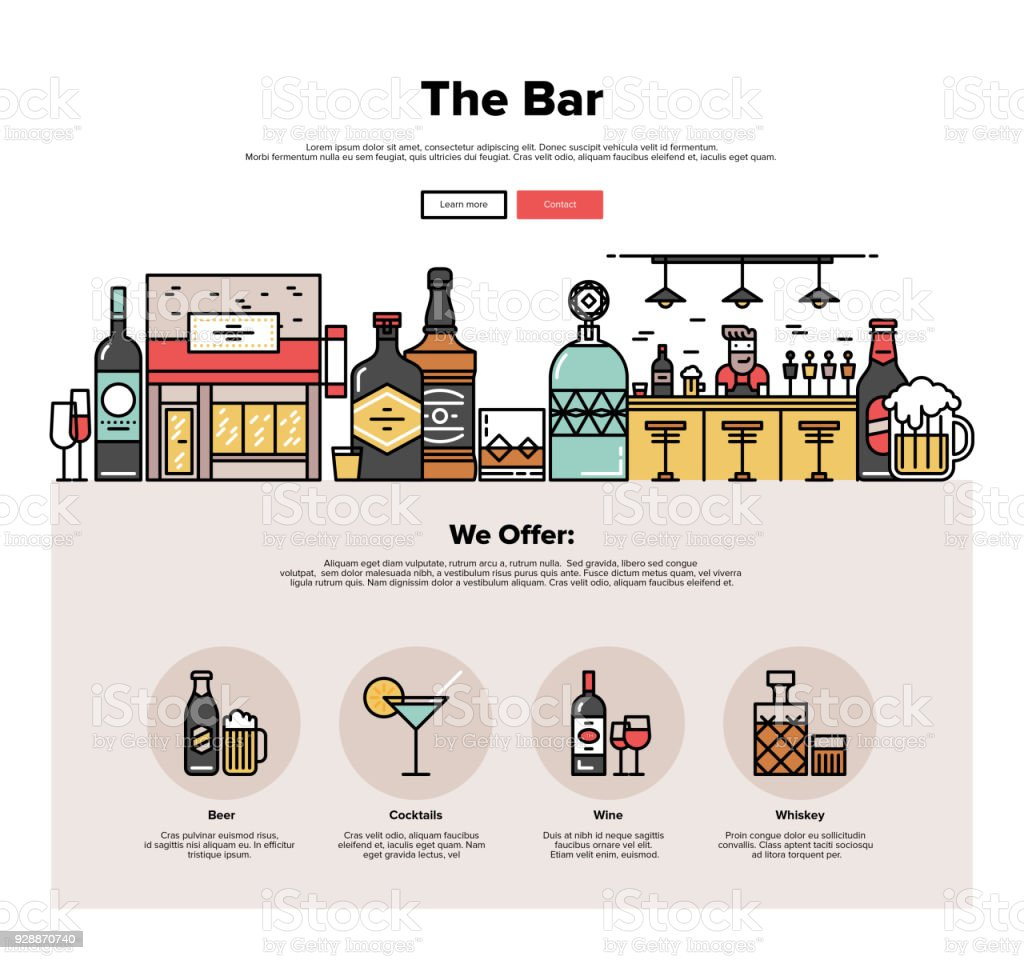 Local bar flat line web graphics vector art illustration