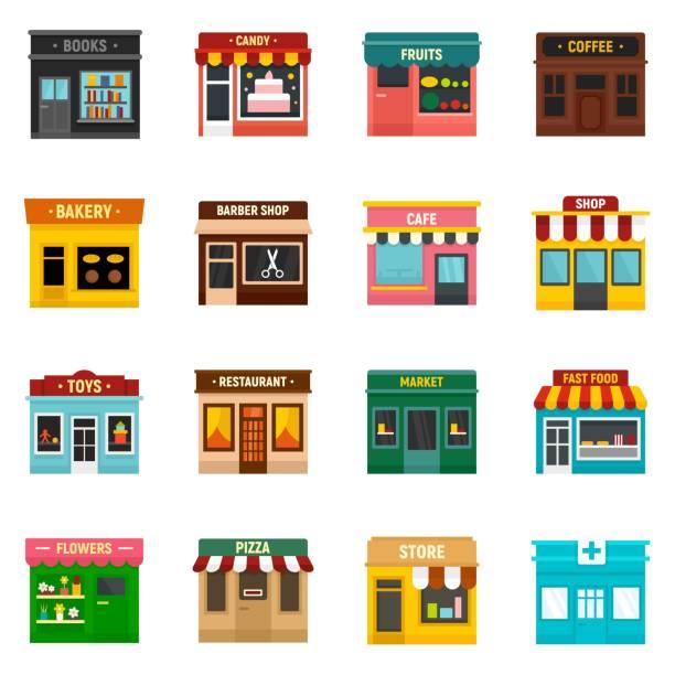 ilustraciones, imágenes clip art, dibujos animados e iconos de stock de iconos de negocio locales establecidos, estilo plano - small business
