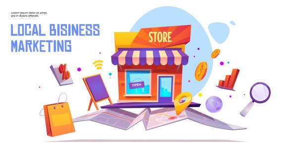 ilustraciones, imágenes clip art, dibujos animados e iconos de stock de plantilla de banner vectorial de marketing empresarial local - small business
