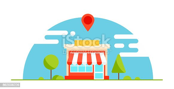 Local business optimization  banner. The shop is profitable. Horizontal background with trees and mountains. Vector flat illustration