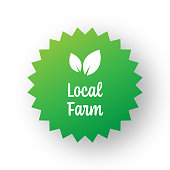 Local Farm Badge Template. Label Badge with Leaves. Organic Products and Organic Food Badge.