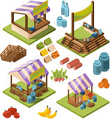 Local farm isometric. Food marketplaces with meat vegetables fish grocery country store vector pictures isolated. Illustration of grocery farm isometric, food market 3d