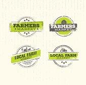 Farmers Market. Organic Farm Fresh Healthy Food Eco Green Vector Concept on Raw Texture Background