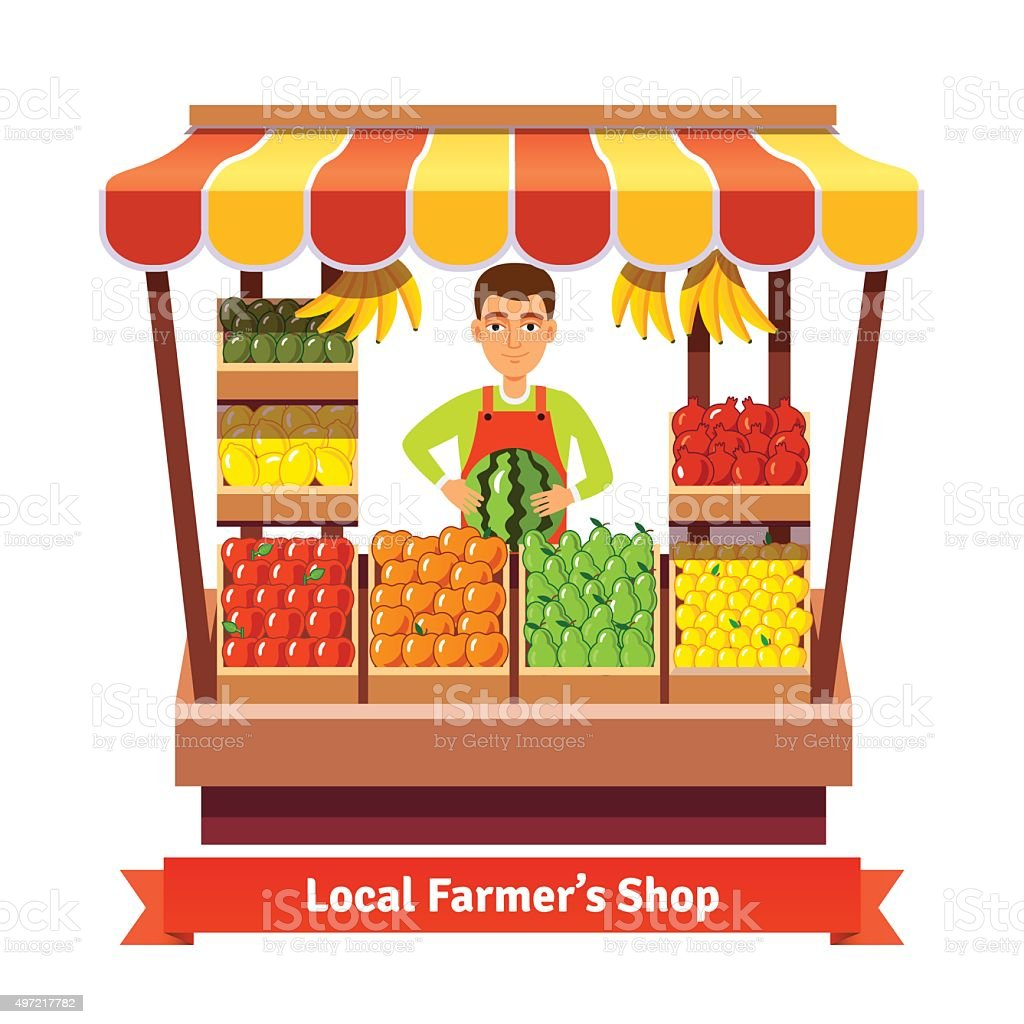 Local farmer produce shop keeper vector art illustration