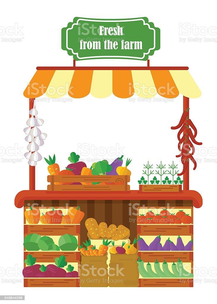 local farmer produce shop vector art illustration