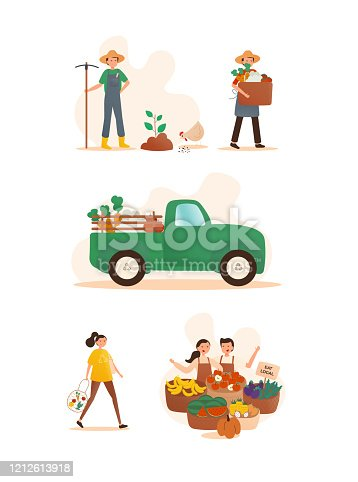 istock Local Farming Concept Vector Illustration. Flat Modern Design for Web Page, Banner, Presentation etc. 1212613918