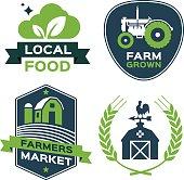 Local food, farm grown, farmers market and farm food symbols.