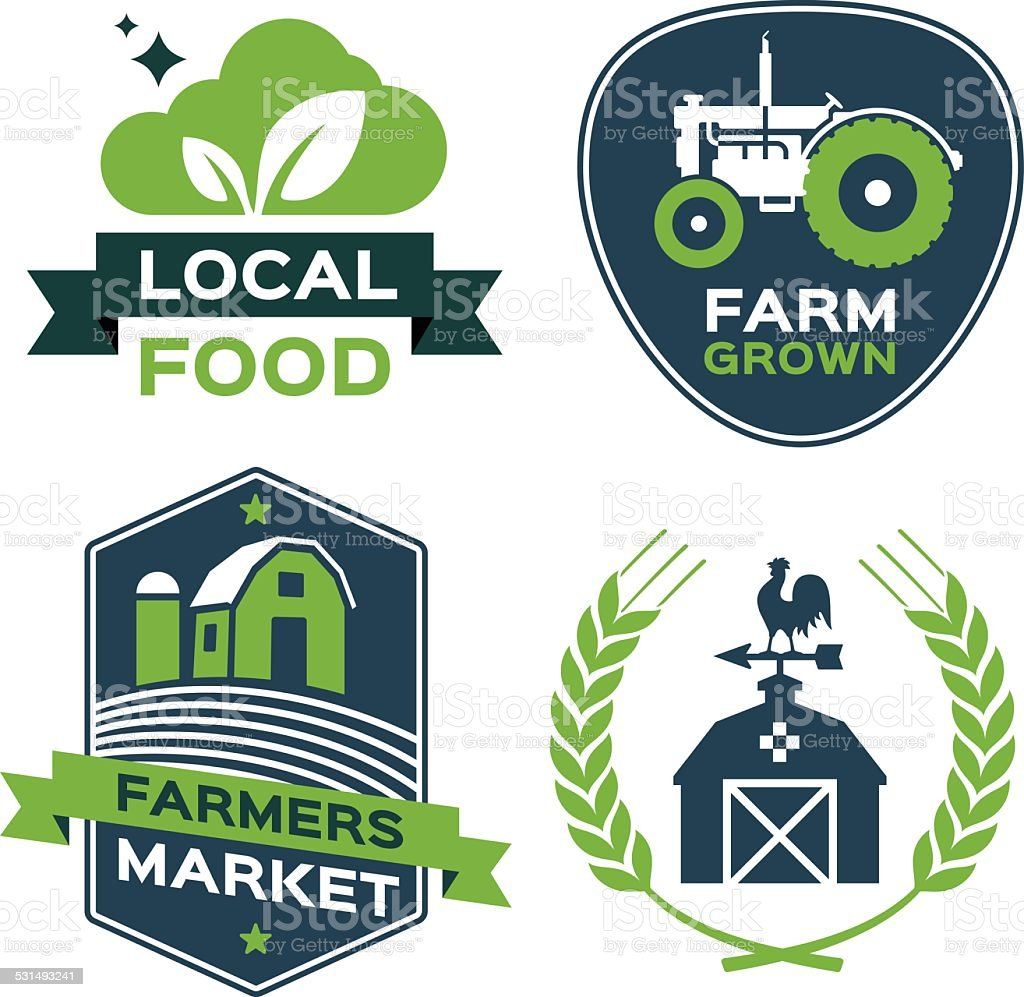 Local Food Farmers Market Symbols vector art illustration