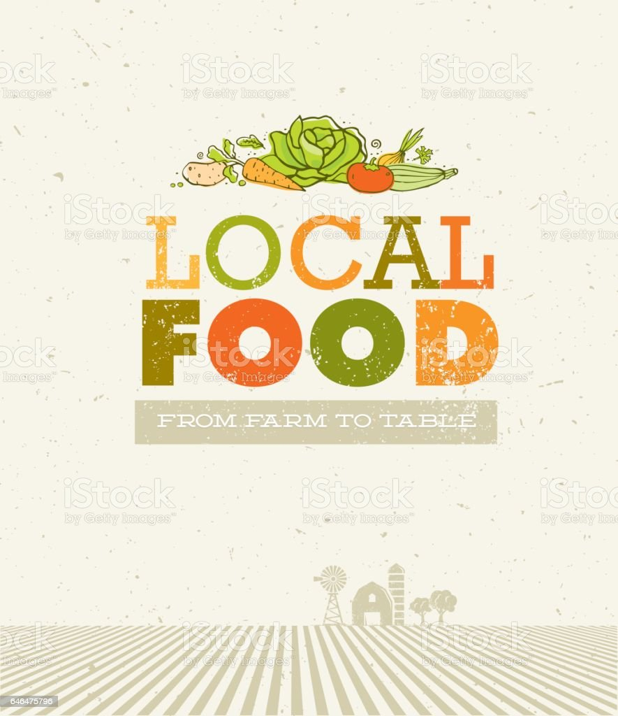 Local Food Market. From Farm To Table Creative Organic Vector Concept on Recycled Paper Background vector art illustration