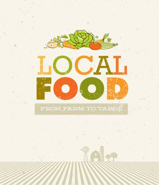 Local Food Market. From Farm To Table Creative Organic Vector Concept on Recycled Paper Background Local Food Market. From Farm To Table Creative Organic Vector Concept on Recycled Paper Background. community borders stock illustrations