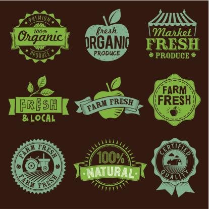 Local, Fresh, Organic, Natural, Farm food labels, icons and logo