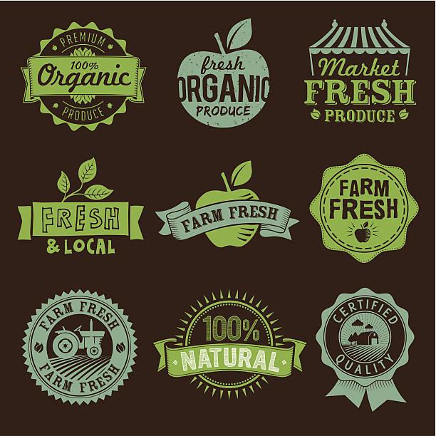 주변구역, 신선한, 유기, 천연, 농장 음식, 아이콘 및 로고 라벨 - 신선함 stock illustrations