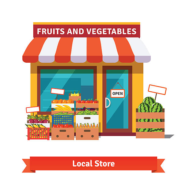 stockillustraties, clipart, cartoons en iconen met local fruit and vegetables store building - markt