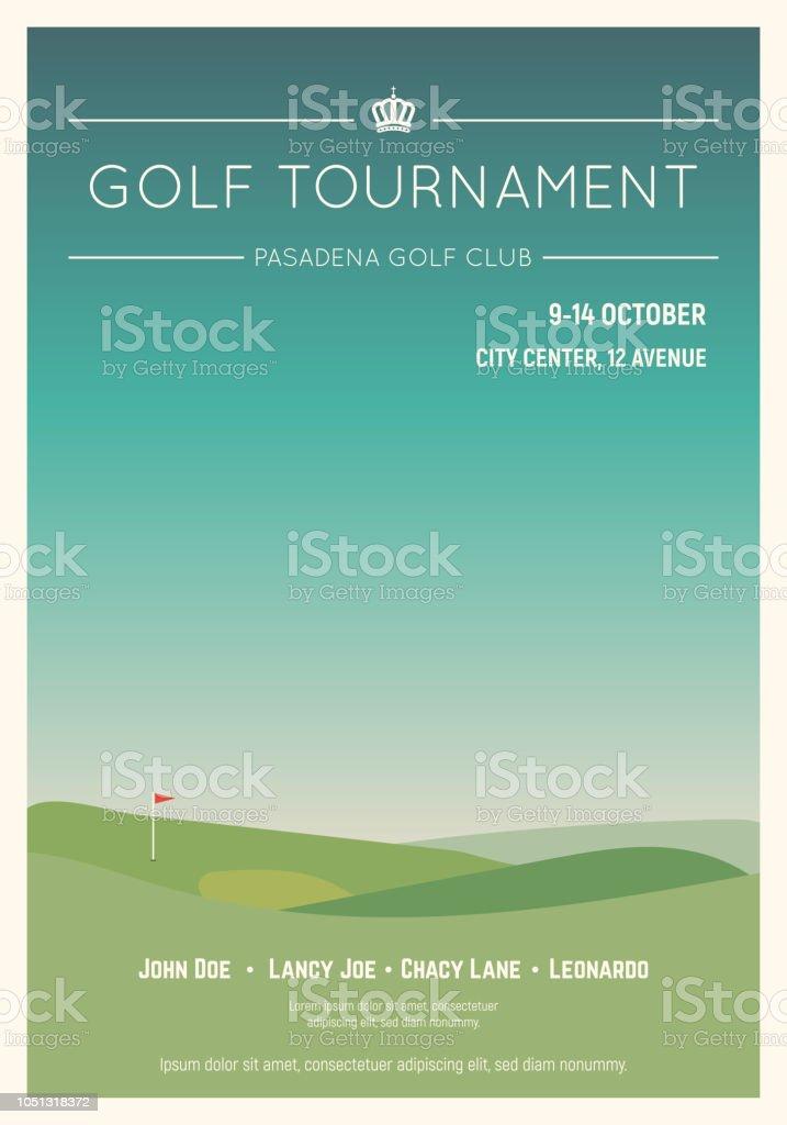 Cartel del torneo de golf local - ilustración de arte vectorial