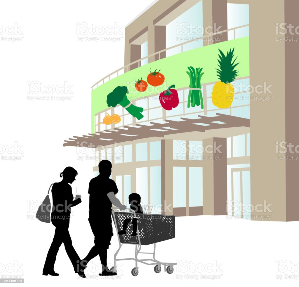 Local Grocery Shopping vector art illustration