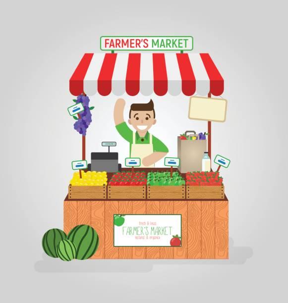 stockillustraties, clipart, cartoons en iconen met lokale markt landbouwer verkoop dagboek, fruit, groenten op zijn kraam met kas. realistische platte vectorillustratie geïsoleerd op een witte achtergrond. - bazaar