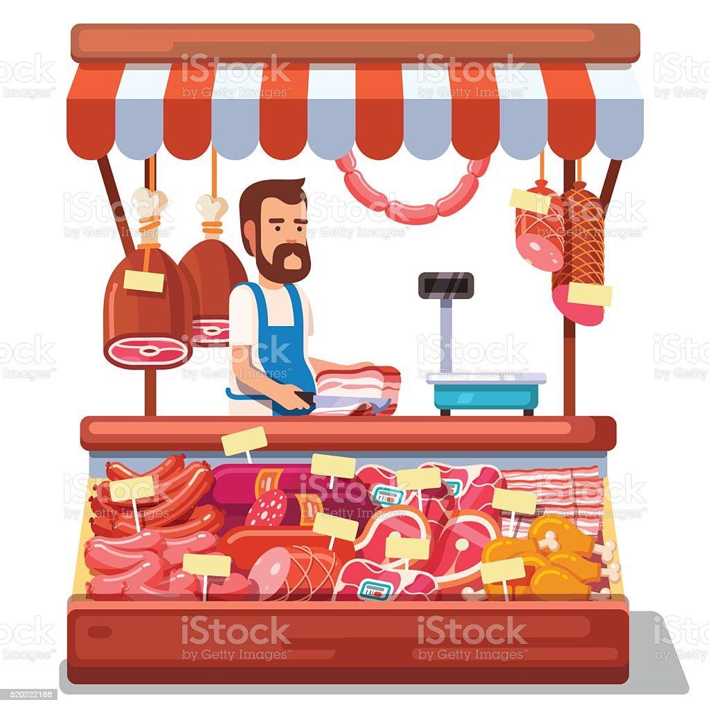 Local market farmer selling fresh meat vector art illustration
