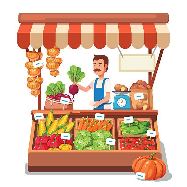 illustrazioni stock, clip art, cartoni animati e icone di tendenza di mercato locale agricoltore vendita di verdure - bancarella