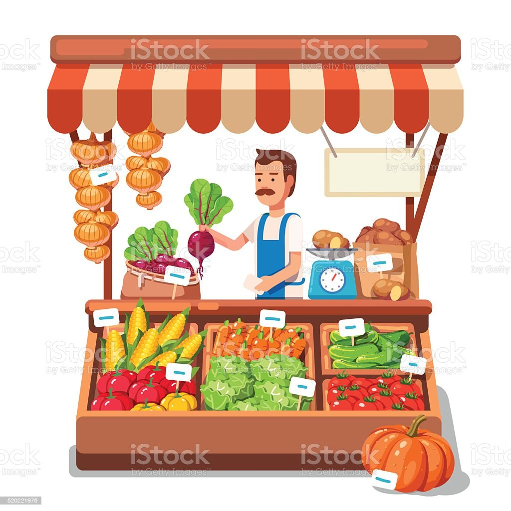 Local market farmer selling vegetables vector art illustration