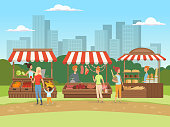 Local market. Food outdoor places in urban landscape bazaar owners with fruits vegetables meat and milk vector cartoon background. Local market food, fresh and organic farm products illustration