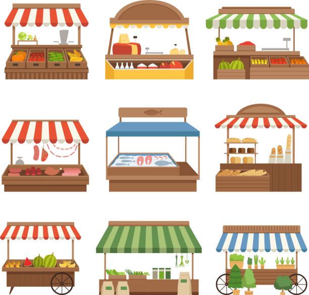 illustrazioni stock, clip art, cartoni animati e icone di tendenza di mercato locale. il negozio all'aperto pone cibi freschi della fattoria verdure frutta latte e proprietari di carne illustrazioni vettoriali - banchi di pesci