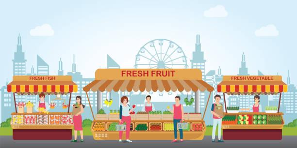 stockillustraties, clipart, cartoons en iconen met lokale markt plaats met vers voedsel. - bazaar