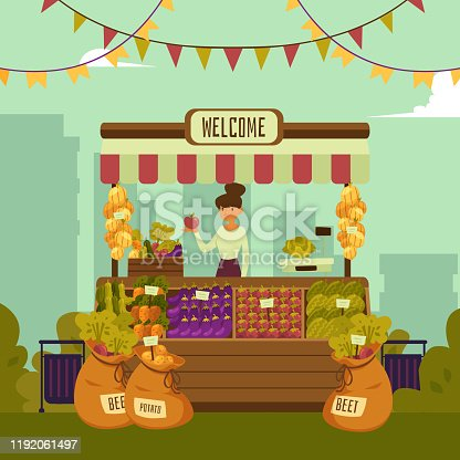Local market place with vegetables and fruits with landscape of a big city. Young woman seller stands behind organic market place, vector illustration of market place in flat cartoon style.