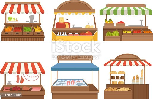 Local market. Street food places stands outdoor farm vegetables fruits meat and milk vector pictures. Illustration farm marketplace, dairy and sausage natural, farm stall with awning