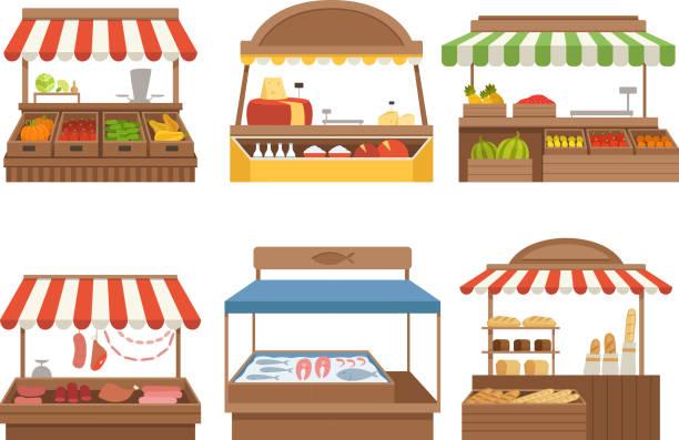 stockillustraties, clipart, cartoons en iconen met lokale markt. street food plaatsen staat outdoor boerderij groenten fruit vlees en melk vector foto's - marktkraam