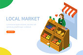 Farmer sell locally grown fruits and vegetables. Can use for web banner, infographics, hero images. Flat isometric vector illustration isolated on white background.