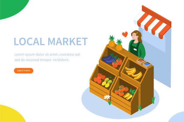 local market Farmer sell locally grown fruits and vegetables. Can use for web banner, infographics, hero images. Flat isometric vector illustration isolated on white background. farmers market illustrations stock illustrations
