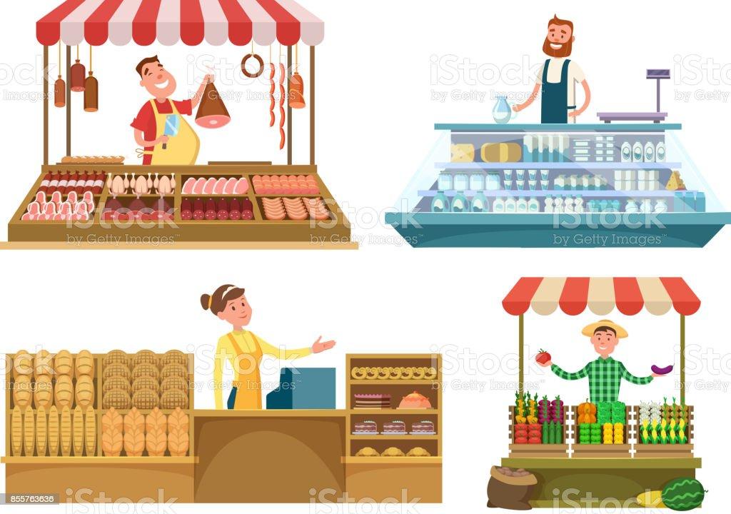 Marchés locaux. Les aliments frais de la ferme, viande, boulangerie et le lait. Shopping place isolé sur fond blanc - Illustration vectorielle
