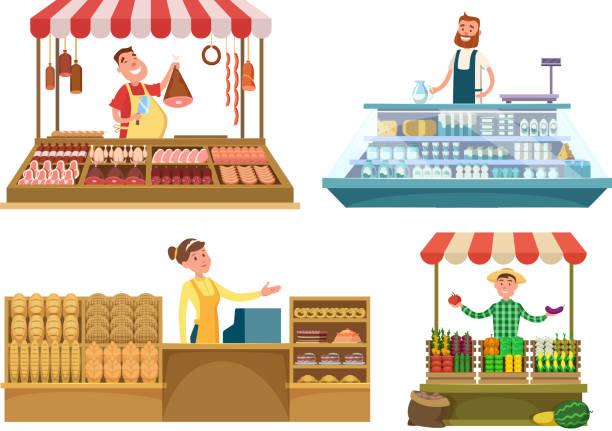 illustrations, cliparts, dessins animés et icônes de marchés locaux. les aliments frais de la ferme, viande, boulangerie et le lait. shopping place isolé sur fond blanc - boisson et alimentation de bande dessinée