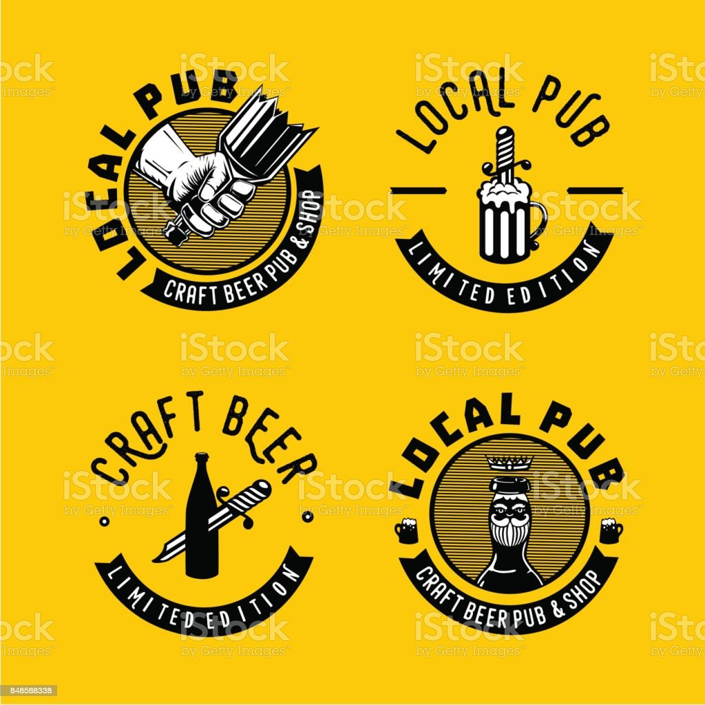 Local pub and brewery sign collection. Retro style emblem for craft beer. vector art illustration