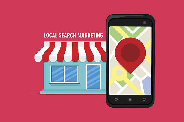 local search marketing ecommerce local search marketing ecommerce with shop vector illustration seo stock illustrations