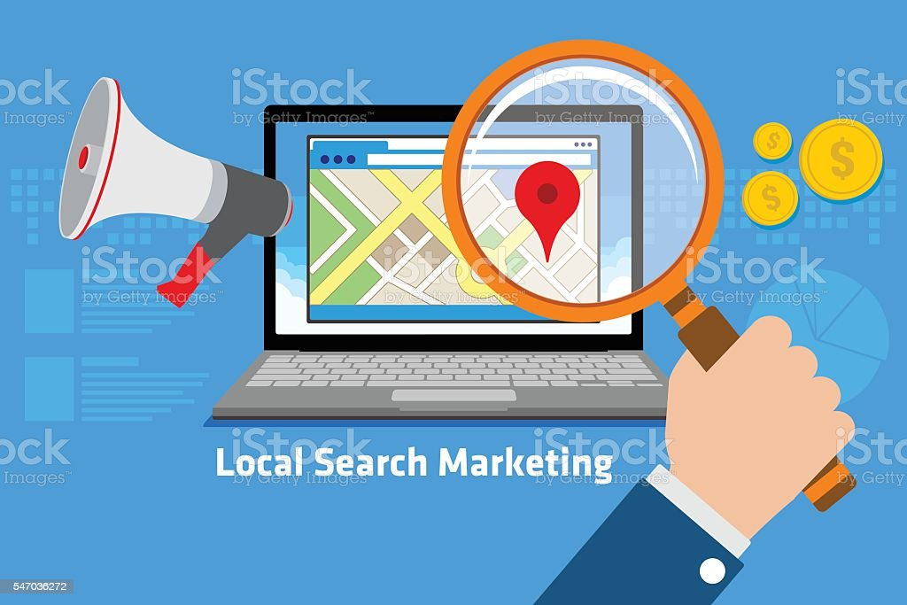 local search marketing vector art illustration